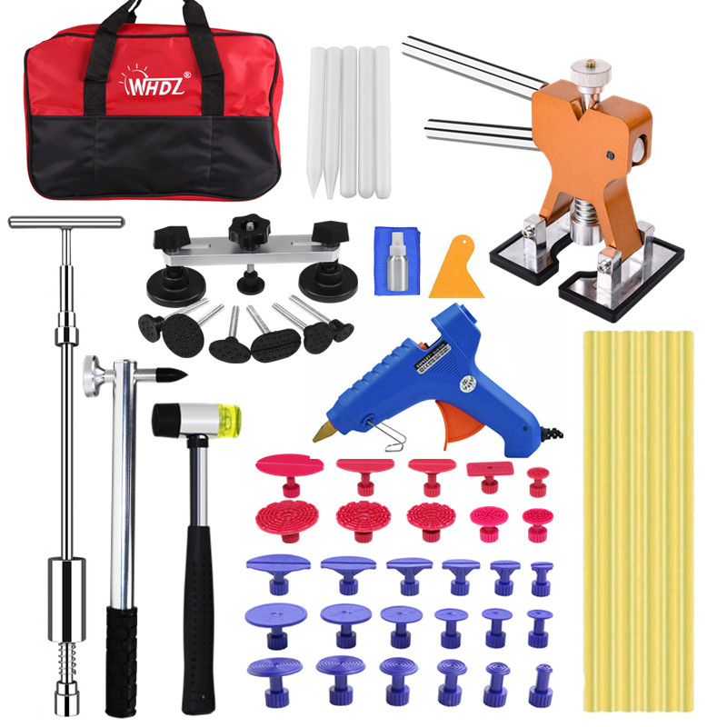 PDR PAINTLESS DENT REPAIR (PDR TOOLS) CAR DENT PULLER KIT DENT BRIDGE PULLER KIT GOLDEN DENT LIFTER WITH HOT MELT GLUE GUN GLUE