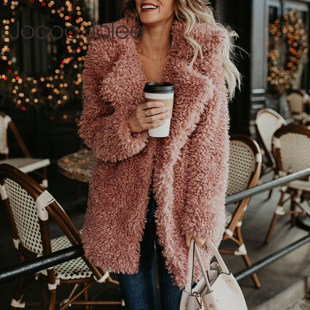 Jocoo Jolee Women Thicken Winter Fake Fur Pink Black Coat Fluffy Faux Fur Jackets Female Fashion Streetwear Cardigan Outerwear
