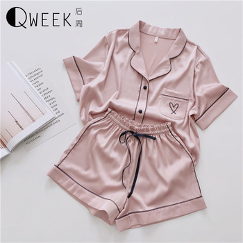 2020 Pajamas for Women Short Sleeve Sleepwear Loungewear Pj Set Satin Pyjamas Home Wear Silk Nightwear Pijama - discount item  30% OFF Women's Sleep & Lounge