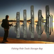 Portable Folding Fishing Rod Carrier Case1.0/1.3/1.5m Canvas Fishing Pole Lure Storage Bag