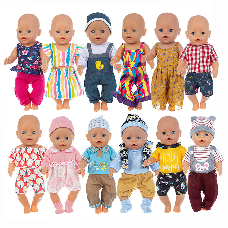 3Pcs=Set+Hat+Shoes Doll ClothesFit 17inch 43cm Doll Clothes Born Baby Doll Accessories Suit For Baby Birthday Festival Gift