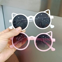 Модные круглые солнцезащитные очки кошачий глаз в стиле ретро, детские солнцезащитные очки для мальчиков и девочек, винтажные детские солн...