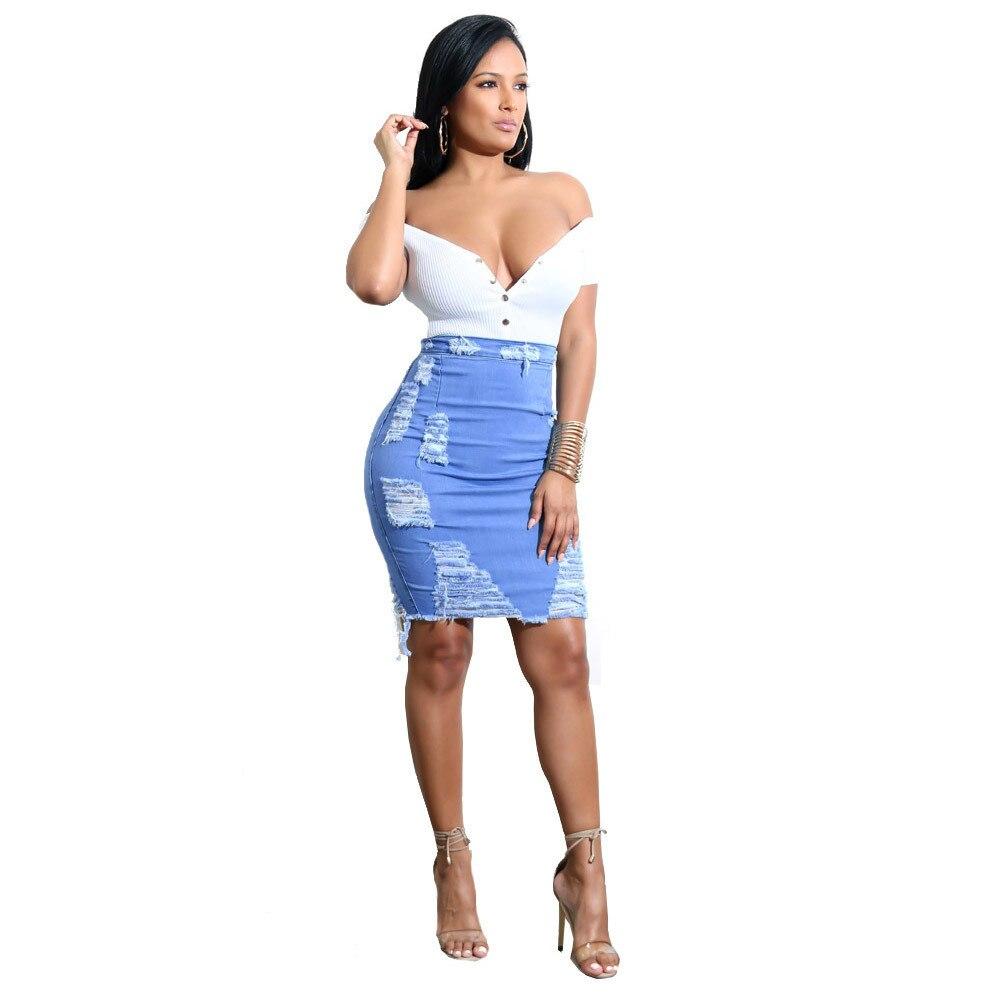 2019 summer Women's A-line Hole Skirt High Waist Ripped Denim Distressed Bodycon Female Pencil Mini Jean Skirt Casual 21