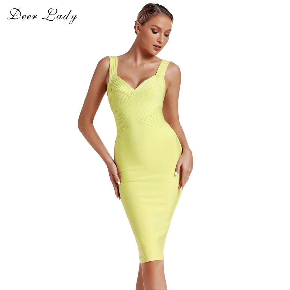 Deer Lady Women Bandage Dress 2019 New Arrivals Summer Neon Bandage Dress Bodycon Clubwear Sexy Celebrity Party Dress Backless