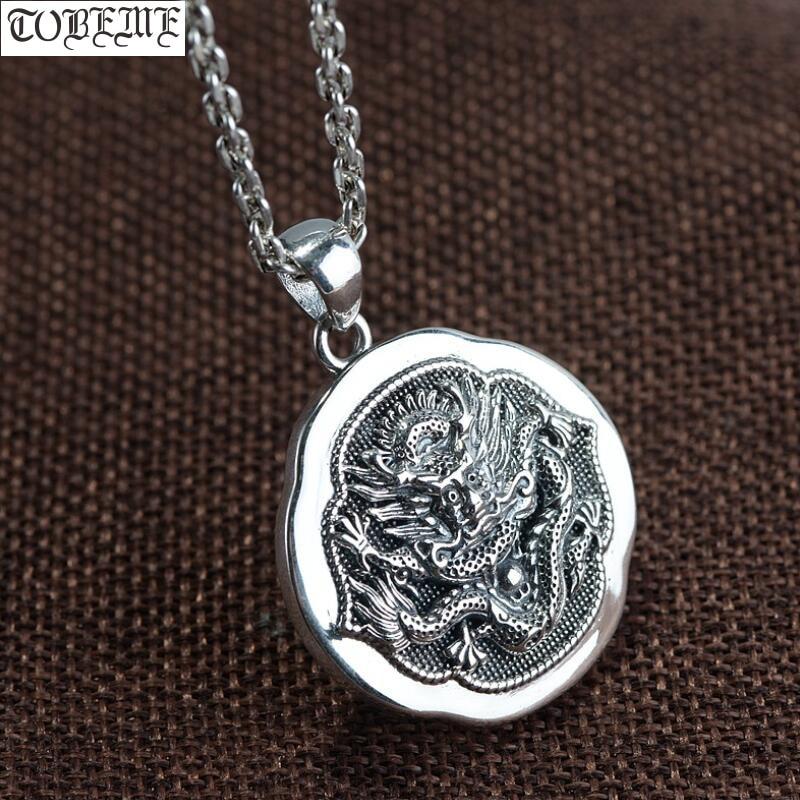 100% 925 collier pendentif Dragon artisanal en argent 925 pendentif homme Dragon de puissance Sterling pendentif bonne chance bijoux Hiphop