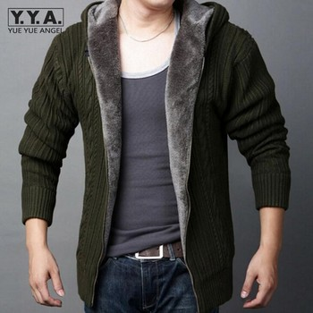 New Arrival Cardigans Casual Hooded Zipper Mens Sweaters Winter Warm Thicken Fur Lining Hombre Knitwear