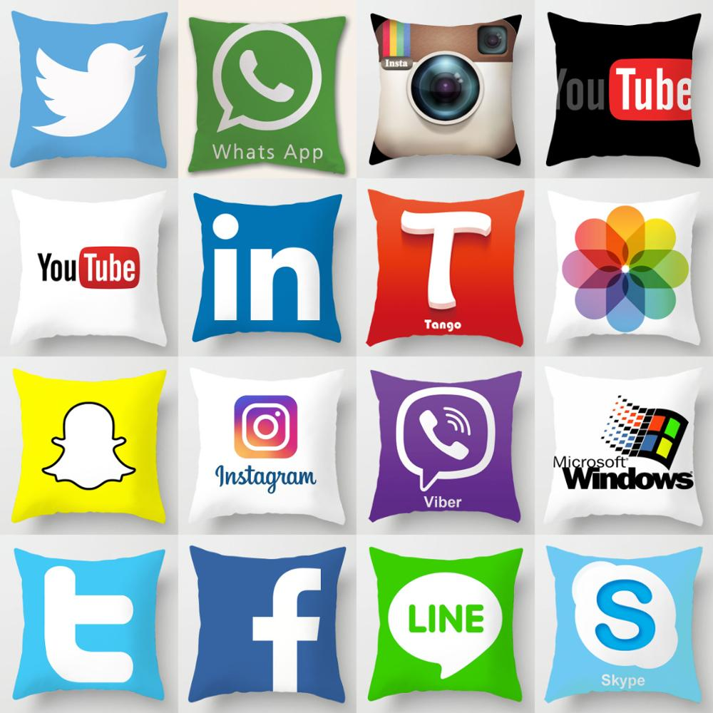 ZENGIA Facebook Youtube Tango Cushion Cover Snapchat Instagram Skype Wechat Viber Tik Pillow Cover For App Decoration