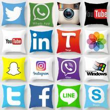 Funda de cojín ZENGIA Facebook Youtube Tango Snapchat Instagram Skype Wechat Viber Tik funda de almohada para la decoración de aplicaciones