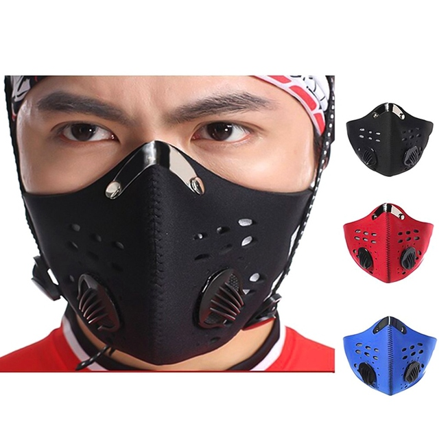 5layers Activated Carbon Filter Breath Valve Mask PM2.5 Flu Mouth Mask Dustproof Mask Reusable Bicycle Mask For Man and Woman