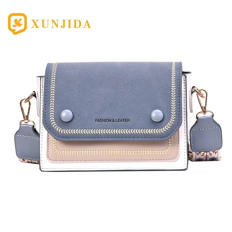 XUNJIDA 2020 Luxury Handbags Women Bags Designer Crossbody Bags Fashion Small Scrub Leather Messenger Shoulder Bag BLUE