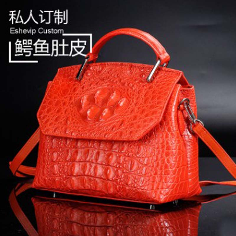 ourui The new  true  crocodile  One shoulder  handbag  orange  Women handbag