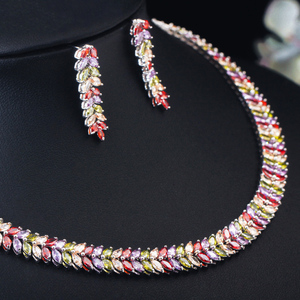 Image 3 - CWWZircons Marquise Cut Bunte Zirkonia Steine Braut Runde Choker Halskette Ohrring Set für Frauen Hochzeit Schmuck T074