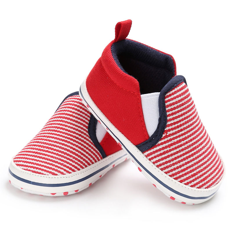 Infant Toddler Baby Boy Girl Canvas Soft Sole Crib Shoes Striped Sneaker Newborn To 18 Months First Walkers