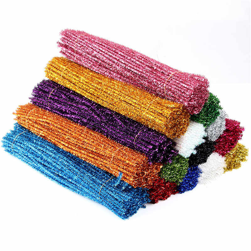 100pcs Glitter Chenille Stems Pipe Cleaners Plush Tinsel Stems Wired Sticks Kids Educational DIY Craft Supplies Toys Craf