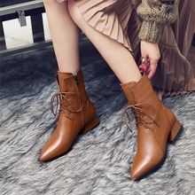 LZJ Genuine Leather Brown Pointed Toe Women Ankle Boots Low Heel Square Spring a
