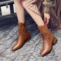 LZJ, botines De piel auténtica, puntiagudos marrones para Mujer, botines cuadrados De tacón bajo para primavera y otoño, botines femeninos, Zapatos De Mujer