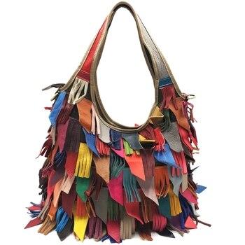 Leather Handbags Cowhide Bag Shoulder Messenger Bag Color Matching Europe and America Female Bag Large Color