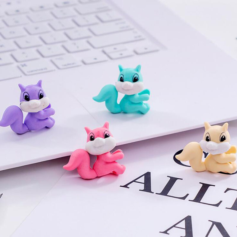 Squirrel Pencil Erasers Cartoon Squirrel Kindergarten Toy Eraser Creative For Funny Erasers Korean Stationery School Supplies