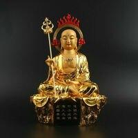 """12 """"cinese Resina Gild Ksitigarbha Boddhisattva Inferi Leader Statua di Buddha-in Statue e sculture da Casa e giardino su"""