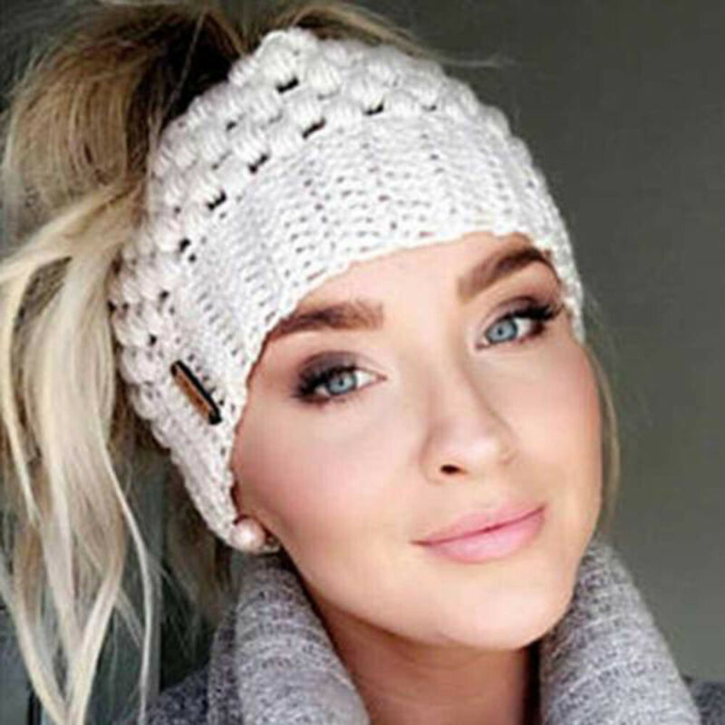 2019 New Winter Womens Warm Hat Ponytail   Beanie   Hat High Messy Bun Stretch Knitted Ponytail Cap