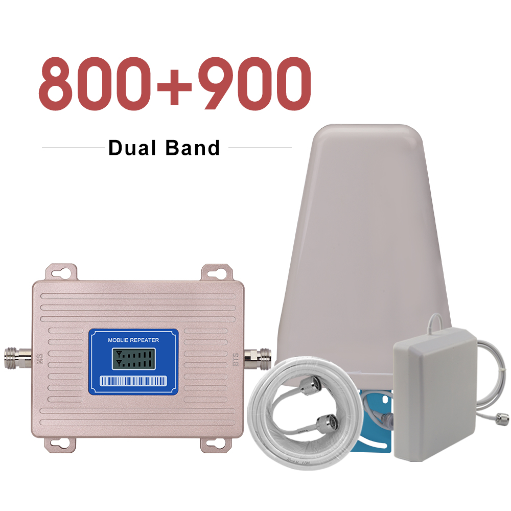 Dual Band Cellular Amplifier LTE 800 GSM 900 Mhz Cellphone Signal Repeater B20 B8 FOR Europe 2g GSM 900 4G LTE 800 Booster SET