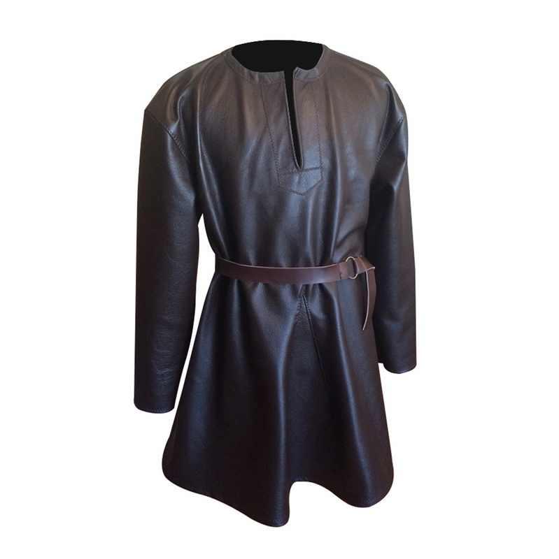 Новое мужское платье стимпанк модное тонкое платье из искусственной кожи Средневековый Костюм Повседневный Готический длинный рукав ремень мужское платье плюс размер 4XL