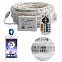 APP ומרחוק RGB LED רצועת אור בהירות גבוהה 220 V LED הרצועה עמיד למים 220 V 120 נוריות/m SMD5050 סרט קלטת ledstrip IL