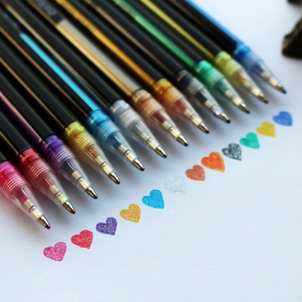 12 Цвет набор гелевых ручек сверкающих ручка для рисования Пастель неоновый блеск эскиз цветная ручка для рисования Цвет ручка школьные кан...