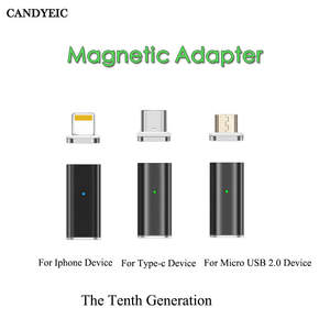 CANDYEIC Fast Charging Magnetic Adapter For IPhone Android Type C Micro USB 2.0 Device