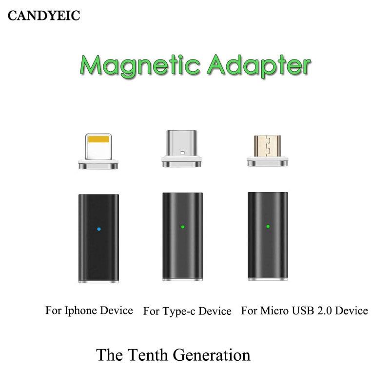 Магнитный адаптер CANDYEIC для быстрой зарядки для IPhone Android Type C Micro USB 2,0 устройство для Micro USB кабель Зарядное устройство USB C адаптер