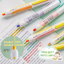 Andstal 6pcs/lot NEW twin-tip Retractable Highlighter Pen Refillable Fluo Soft Fluorescent Color school marker set hilighter pen
