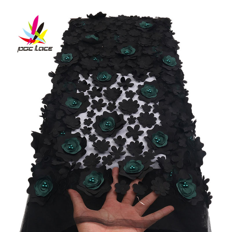 Nigerian Lace Fabric 2018 High Quality Black & Green 3d Flowers Fabric African Beautiful Mesh Lace Fabric With Beads XZ1719B -1