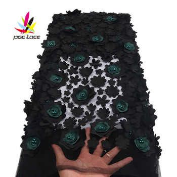 Nigerian Lace Fabric 2018 High Quality Black & Green 3d Flowers Fabric African Beautiful Mesh Lace Fabric With Beads XZ1719B -1 - DISCOUNT ITEM  35% OFF All Category