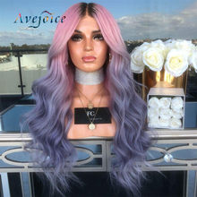 13x4 Pink Ombre Purple Color Remy Hair Brazilian Wave Wig Long Pre Plucked Glueless Lace Front Human Hair Wigs for Women(China)