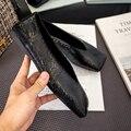 2020 nuevos zapatos de mujer de moda de cabeza cuadrada zapatos planos de mujer de talla grande negro pisos mocasines planos casuales zapatos perezosos de mujer 41