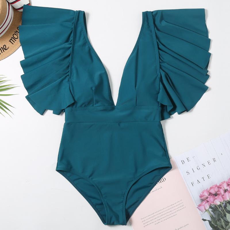Sexy Off The Shoulder Ruffle One Piece Swimsuit 2020 New Swimwear Women Swimsuit Deep-V Bathing Suits Beach Wear Swim Suit