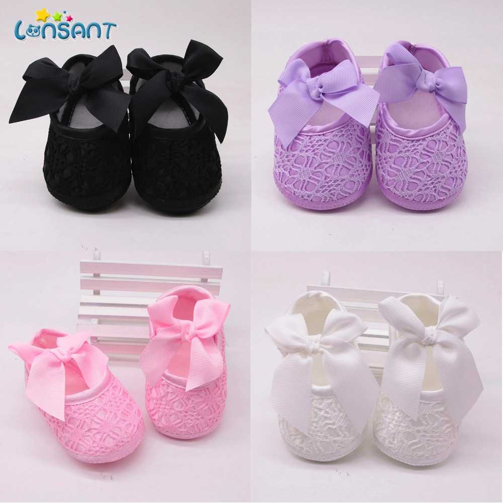 LONSANT Baby shoes baby girl soft shoes soft comfortable bottom non-slip fashion bow shoes crib shoes 2020