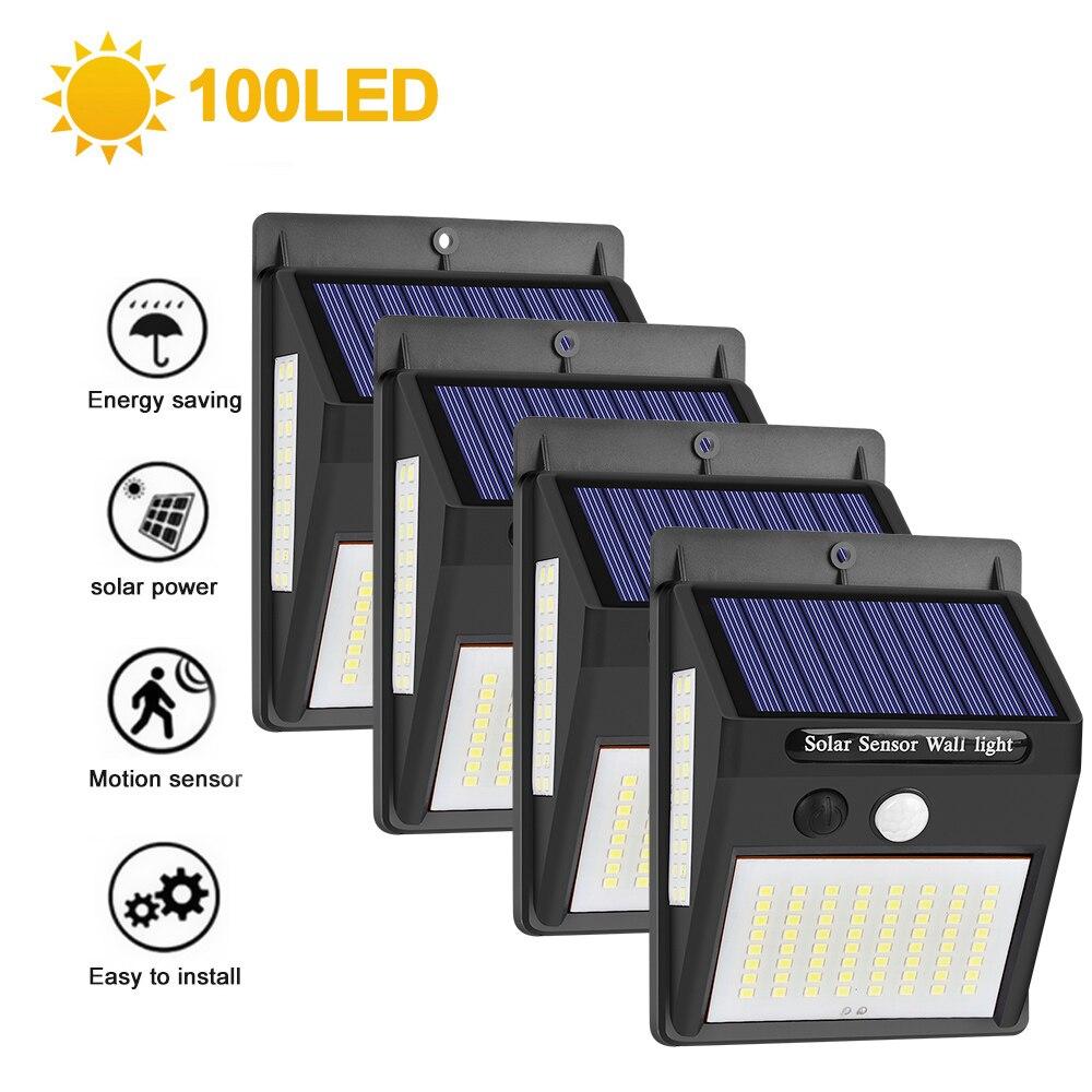 100LED Solar Light Outdoor Solar Lamp PIR Motion Sensor Wall Light Waterproof Solar Powered Lights For Garden Decoration