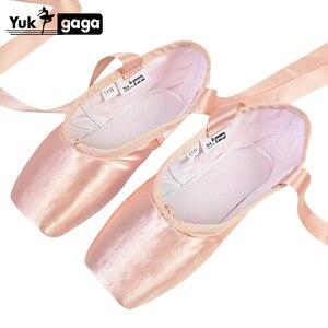 Image 1 - Neue Satin Ballett Tanz Pointe Toe Schuhe Pointe Silk Band Schuhe Toe Pad Mädchen Rosa Professionelle Ballett Schuhe Für Ballett