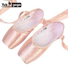 Novo cetim ballet dança pointe toe sapatos pointe fita de seda sapatos toe almofada meninas rosa profissional ballet sapatos para ballet