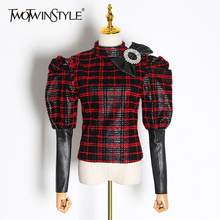 TWOTWINSTYLE Bowknot Patchwork Pu Leather Plaid Blouses Stand Collar Puff Sleeve