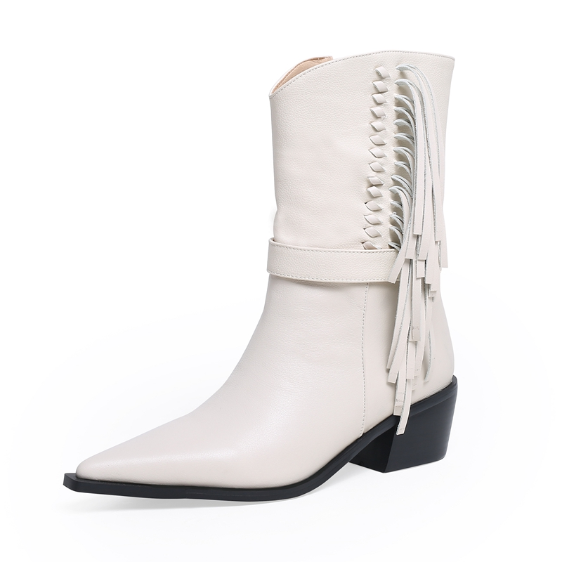 2019 New High Heel Tassel Ankle Boots Women Pointed Toe White Black Fringe Winter Shoes Woman Spike Heels Layer Short Boots