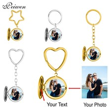 Custom Photo & Name Ring Keychain For Men Women Stainless Steel Round Album Pendant Star Heart Key Silver Gold Circle