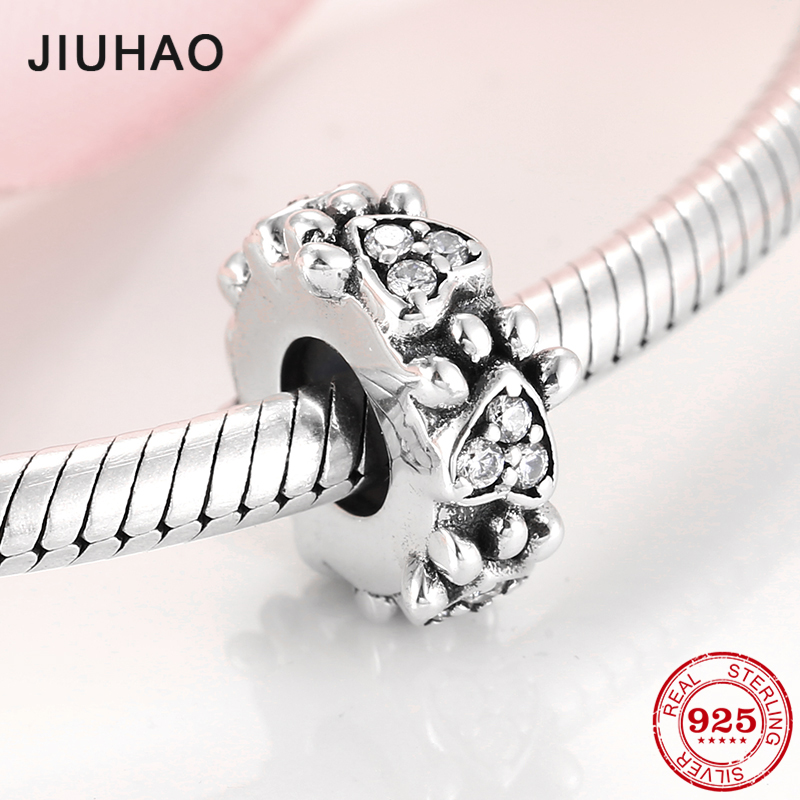 New 925 Sterling Silver Lovely dog puppy claw CZ fine spacer Stopper beads Fit Original European Charm Bracelet Jewelry making