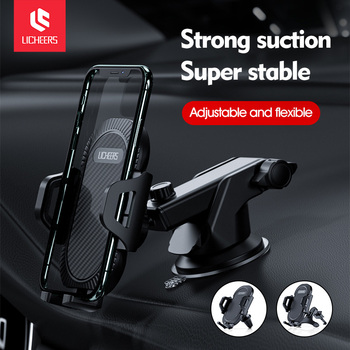 Licheers Sucker Car Phone Holder Mobile Phone Holder Stand in Car No Magnetic GPS Mount Support For iPhone 12 Pro Xiaomi Samsung