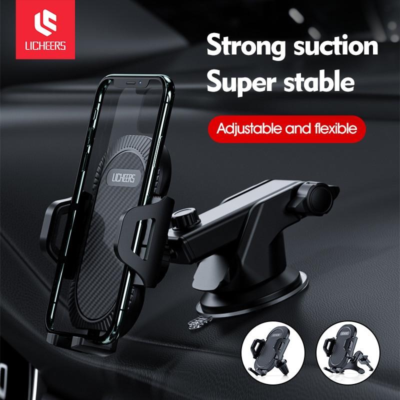 Licheers Sucker uchwyt samochodowy na telefon uchwyt na telefon komórkowy stojak w samochodzie nie magnetyczny uchwyt do montażu GPS dla iPhone 11 Pro Xiaomi Samsung