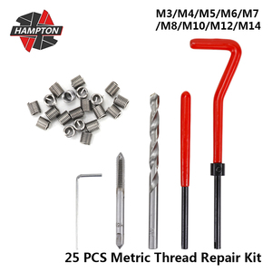 25pcs Metric Thread Repair Kit M3/M4/M5/M6/M7/M8/M10/M12/M14 Screw Thread Inserts For Restoring Damaged Threads Repair Tools