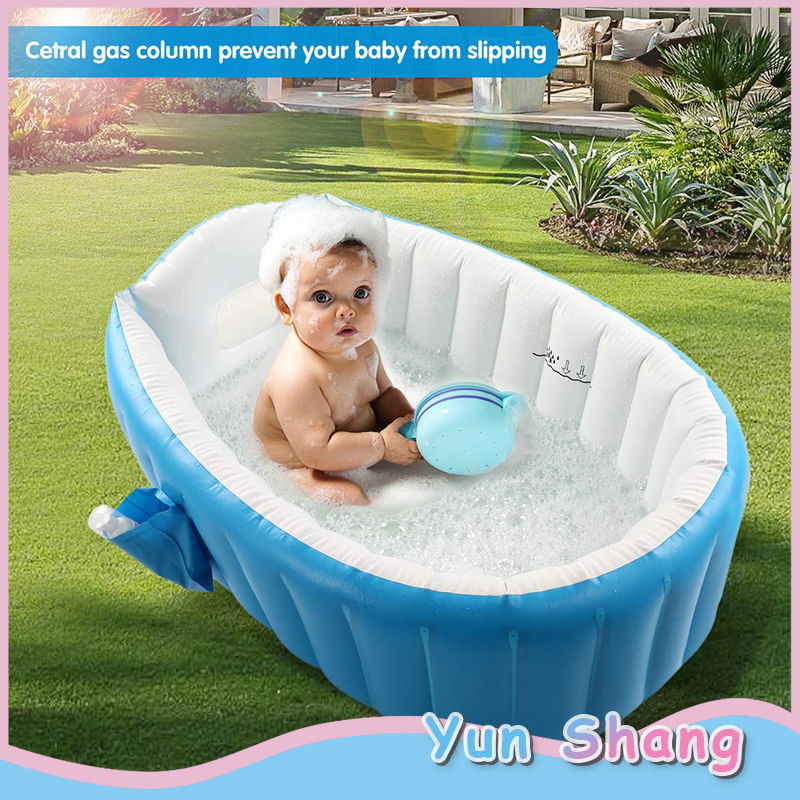 Baby Toddler Inflatable Bathtub Mini Air Swimming Pool Portable Infant Toddler Bathing Tub Kids Thick Foldable Shower Basin