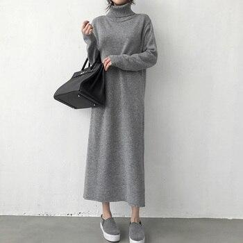 Warm Turtleneck Thick Knitting Winter Black Sweater Dress Women Knitted Female Loose Girls Long Dresses Womens Oversize Vestidos 1