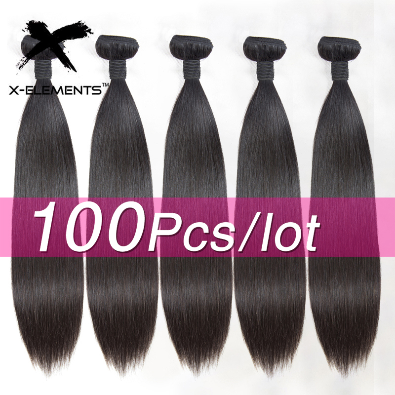 Brazilian 100% Human Hair Bundles Straight 100Pcs/Lot Remy Hair Weaving Bundles Deal Free Tangle No Shedding 8-26